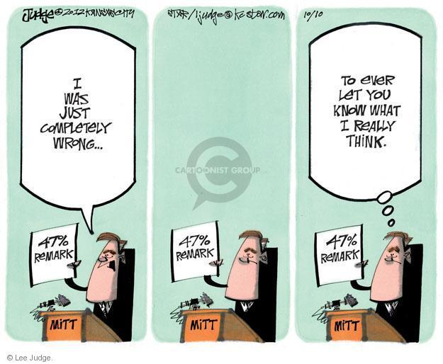 Lee Judge  Lee Judge's Editorial Cartoons 2012-10-10 47 percent