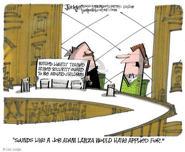 Lee Judge  Lee Judge's Editorial Cartoons 2012-12-28 assault weapon
