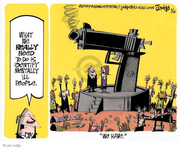 Lee Judge  Lee Judge's Editorial Cartoons 2013-01-12 violent