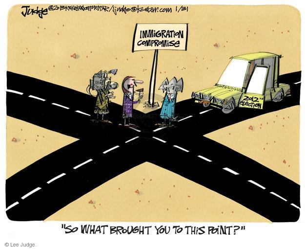 Cartoonist Lee Judge  Lee Judge's Editorial Cartoons 2013-01-31 immigrant