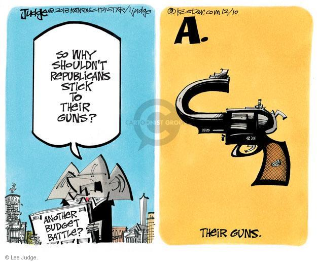 Cartoonist Lee Judge  Lee Judge's Editorial Cartoons 2013-12-10 handgun