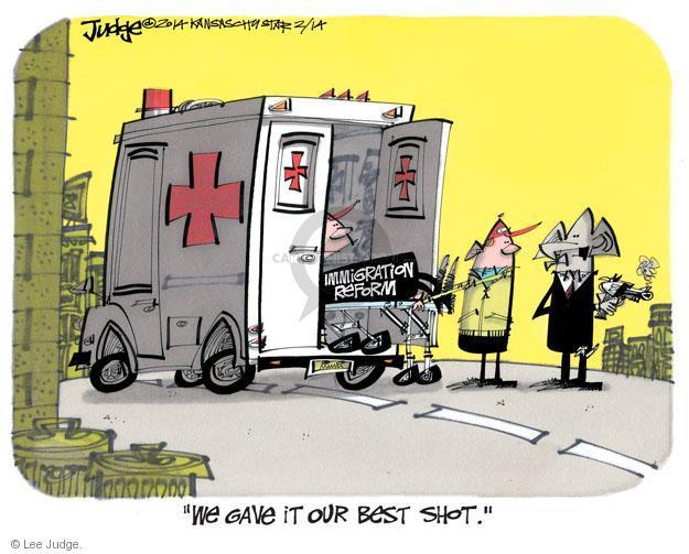 Lee Judge  Lee Judge's Editorial Cartoons 2014-02-14 immigration bill
