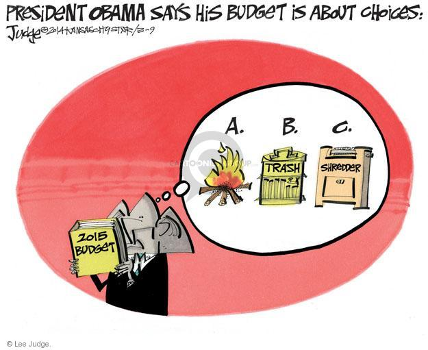 Lee Judge  Lee Judge's Editorial Cartoons 2014-03-09 federal budget