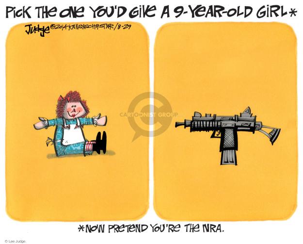 Lee Judge  Lee Judge's Editorial Cartoons 2014-08-29 assault weapon