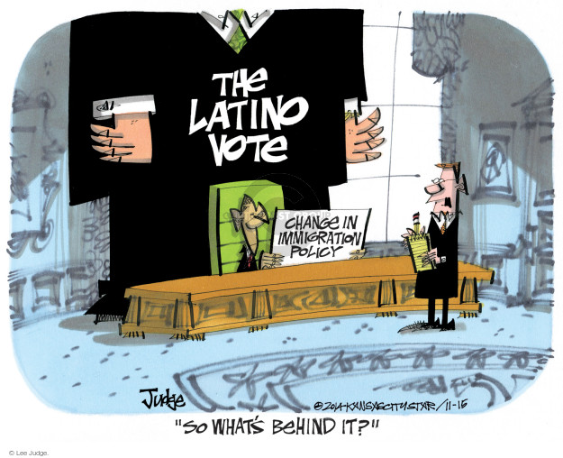 Cartoonist Lee Judge  Lee Judge's Editorial Cartoons 2014-11-15 immigrant