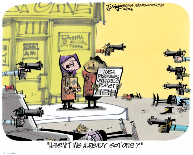 Lee Judge  Lee Judge's Editorial Cartoons 2014-12-26 gun violence