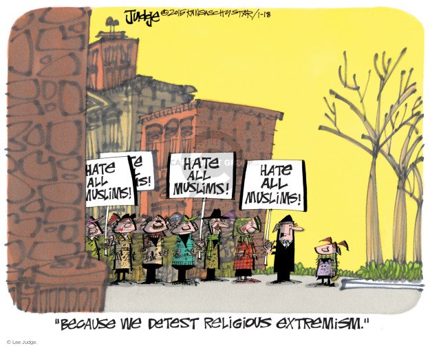 Lee Judge  Lee Judge's Editorial Cartoons 2015-01-18 bigotry