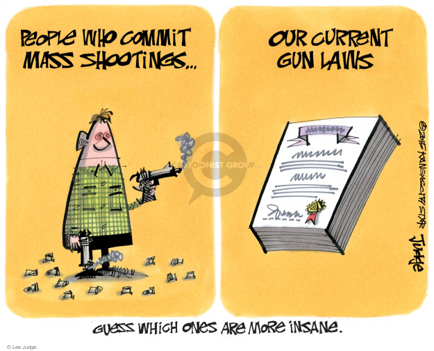 People who commit mass shootings … Our current gun laws. Guess which ones are more insane.