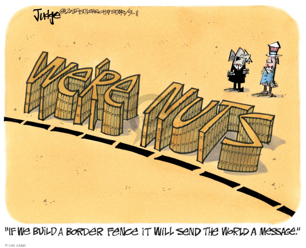 Cartoonist Lee Judge  Lee Judge's Editorial Cartoons 2015-09-11 immigrant