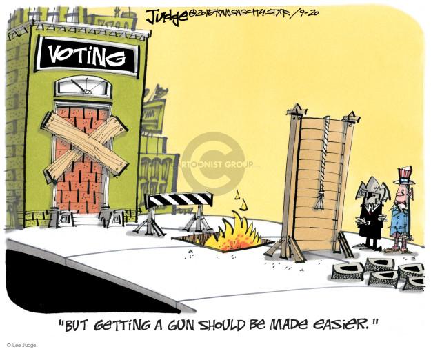 Cartoonist Lee Judge  Lee Judge's Editorial Cartoons 2015-09-20 gun rights