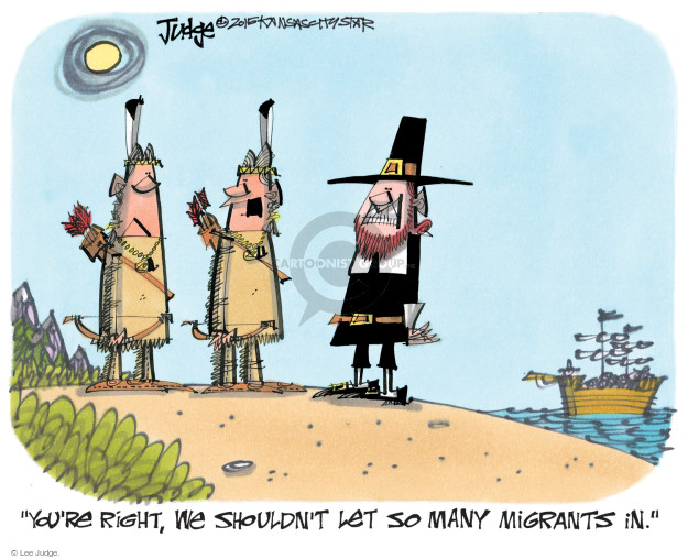 Cartoonist Lee Judge  Lee Judge's Editorial Cartoons 2015-09-21 immigrant