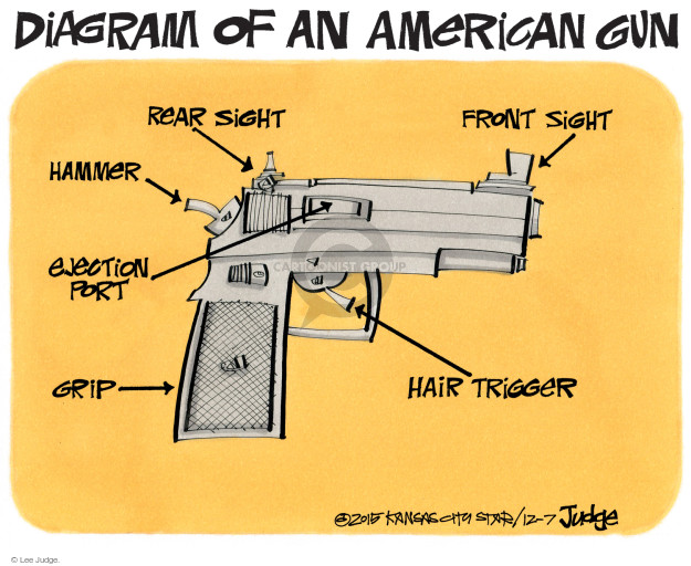 Cartoonist Lee Judge  Lee Judge's Editorial Cartoons 2015-12-07 handgun