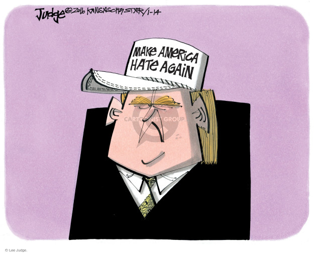 Lee Judge  Lee Judge's Editorial Cartoons 2016-01-14 bigotry