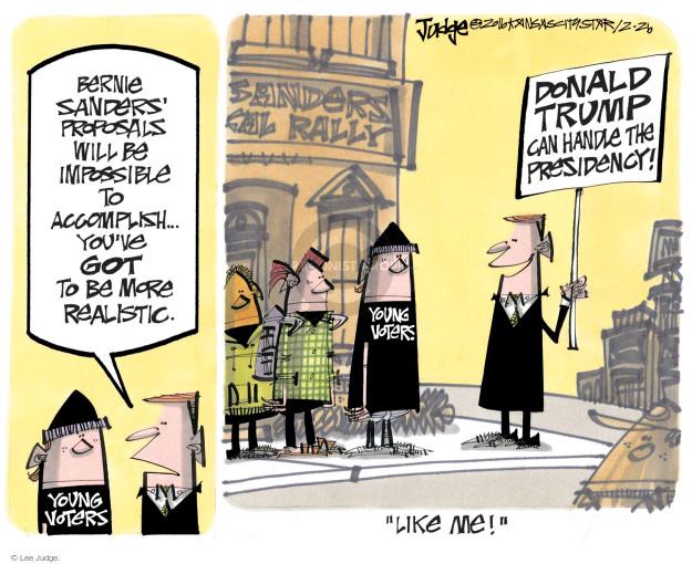 Lee Judge  Lee Judge's Editorial Cartoons 2016-02-26 Bernie Sanders