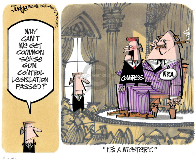"Why cant we get common sense gun control legislation passed? Congress. NRA. ""Its a mystery."""