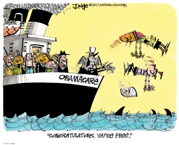 Cartoonist Lee Judge  Lee Judge's Editorial Cartoons 2017-03-15 congress health care