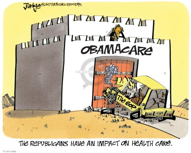 Cartoonist Lee Judge  Lee Judge's Editorial Cartoons 2017-04-06 Obama health care