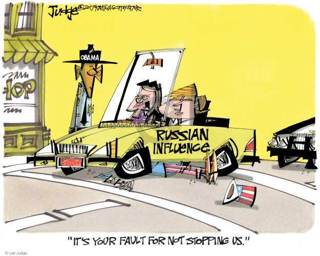 Obama. Russian influence. Hop. Its your fault for not stopping us.