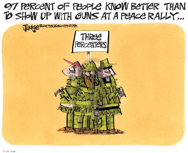 Cartoonist Lee Judge  Lee Judge's Editorial Cartoons 2017-08-30 gun