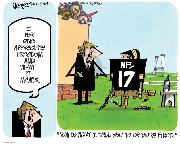 Lee Judge  Lee Judge's Editorial Cartoons 2017-10-01 freedom of speech