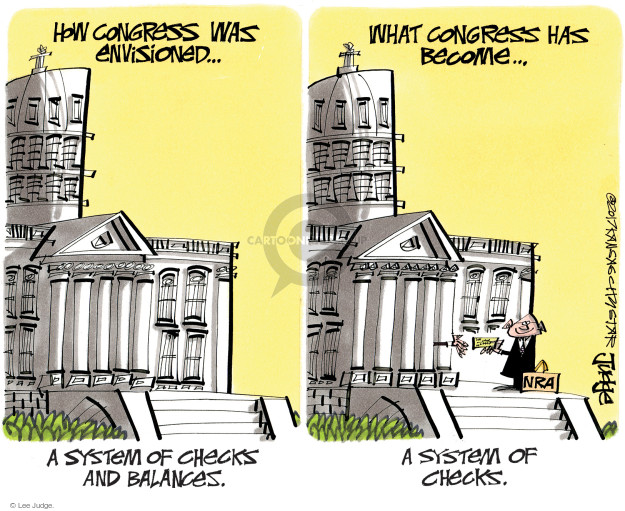 How Congress was envisioned … A system of checks and balances. What Congress has become … A system of checks. NRA.