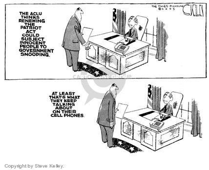 Steve Kelley  Steve Kelley's Editorial Cartoons 2005-04-08 civil liberty