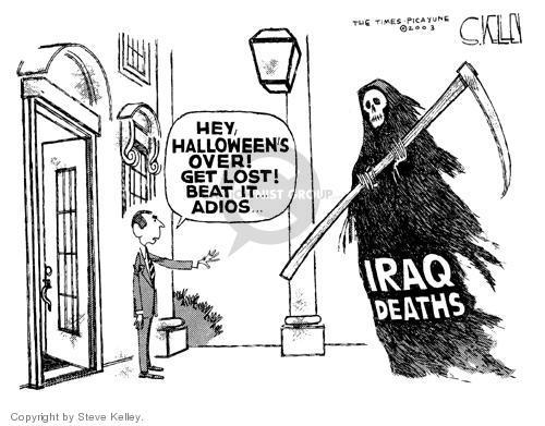 Cartoonist Steve Kelley  Steve Kelley's Editorial Cartoons 2003-10-31 mask