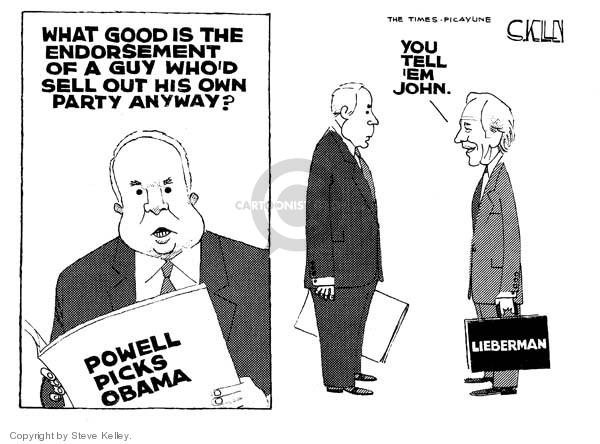 Steve Kelley  Steve Kelley's Editorial Cartoons 2008-10-21 2008 election endorsement