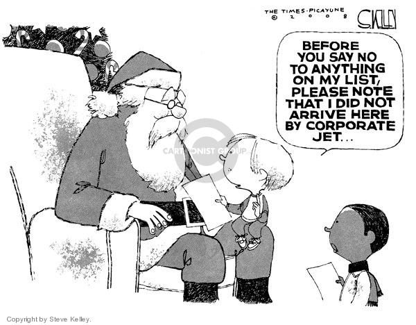 Cartoonist Steve Kelley  Steve Kelley's Editorial Cartoons 2008-12-05 claus