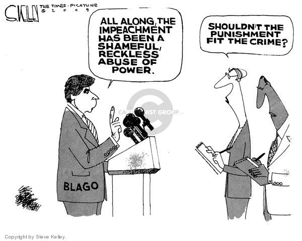 Steve Kelley  Steve Kelley's Editorial Cartoons 2009-01-30 corruption