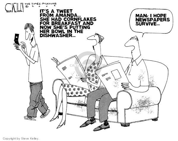 Cartoonist Steve Kelley  Steve Kelley's Editorial Cartoons 2009-04-09 social media