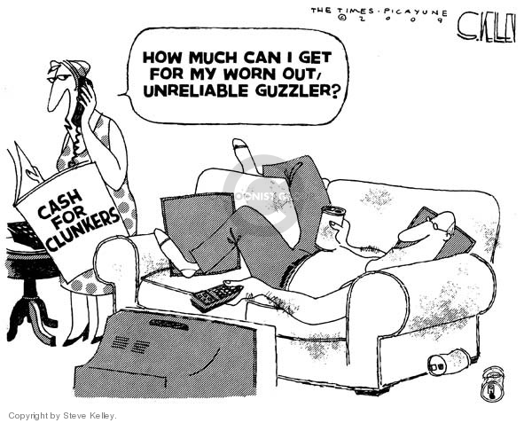Cartoonist Steve Kelley  Steve Kelley's Editorial Cartoons 2009-08-10 automobile energy