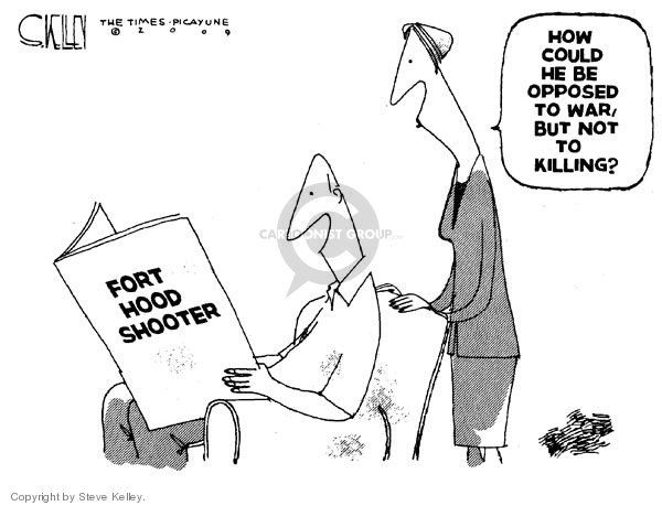 Cartoonist Steve Kelley  Steve Kelley's Editorial Cartoons 2009-11-09 military mental health