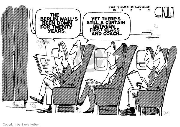 Steve Kelley  Steve Kelley's Editorial Cartoons 2009-11-11 airplane travel
