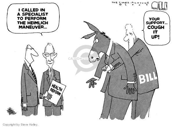 Cartoonist Steve Kelley  Steve Kelley's Editorial Cartoons 2009-11-13 congress health care