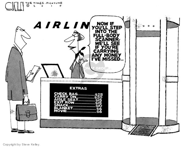Steve Kelley  Steve Kelley's Editorial Cartoons 2010-04-09 airplane travel
