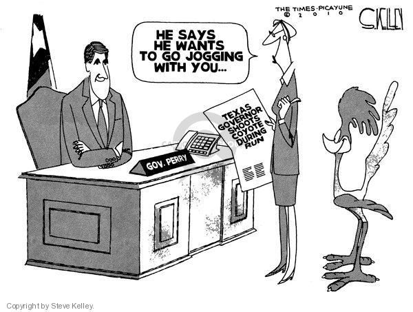 Cartoonist Steve Kelley  Steve Kelley's Editorial Cartoons 2010-04-29 Texas governor