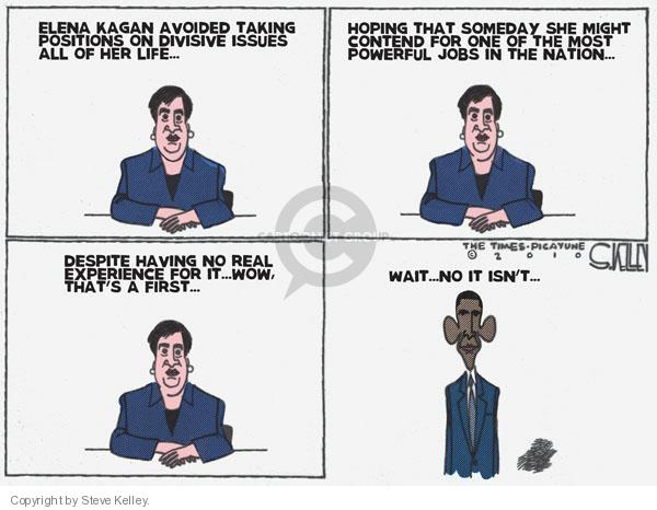 Steve Kelley  Steve Kelley's Editorial Cartoons 2010-06-30 Elena Kagan
