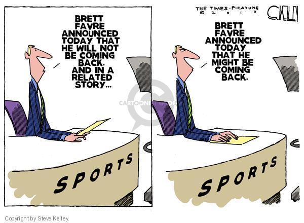 Steve Kelley  Steve Kelley's Editorial Cartoons 2010-08-06 football quarterback