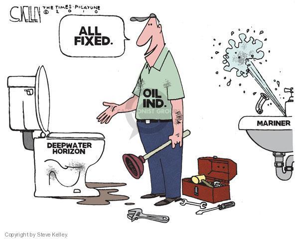 Cartoonist Steve Kelley  Steve Kelley's Editorial Cartoons 2010-09-04 spill