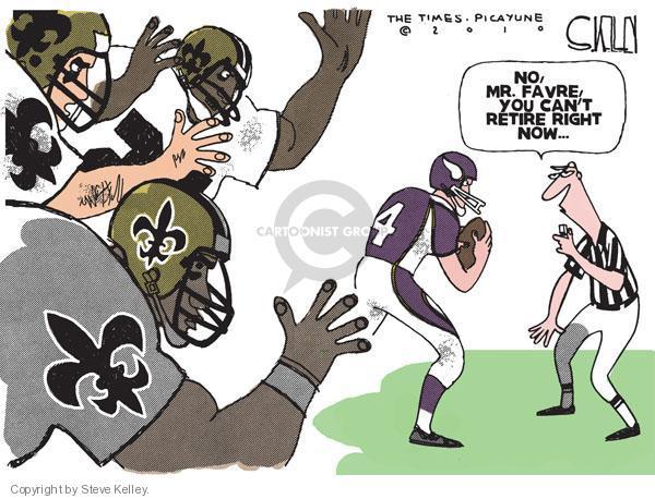 Steve Kelley  Steve Kelley's Editorial Cartoons 2010-09-09 football quarterback