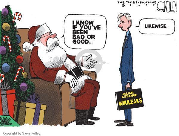 Cartoonist Steve Kelley  Steve Kelley's Editorial Cartoons 2010-12-07 Santa Claus