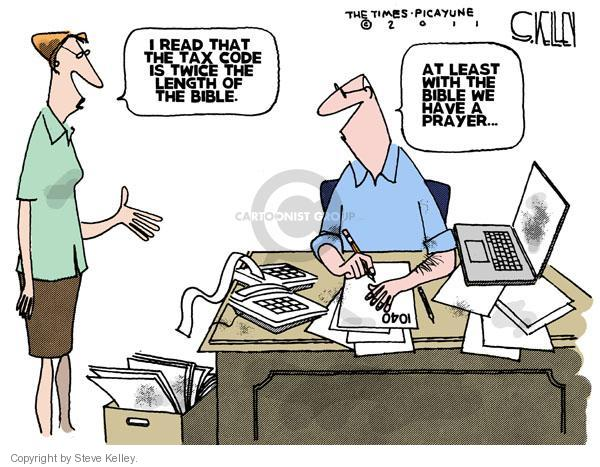 Steve Kelley  Steve Kelley's Editorial Cartoons 2011-04-14 tax form