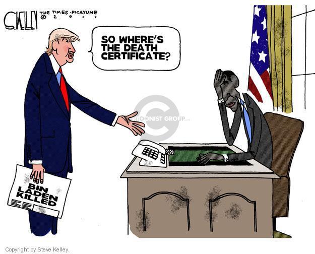 Cartoonist Steve Kelley  Steve Kelley's Editorial Cartoons 2011-05-03 president