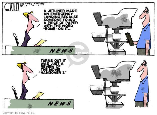 Cartoonist Steve Kelley  Steve Kelley's Editorial Cartoons 2011-05-10 threat