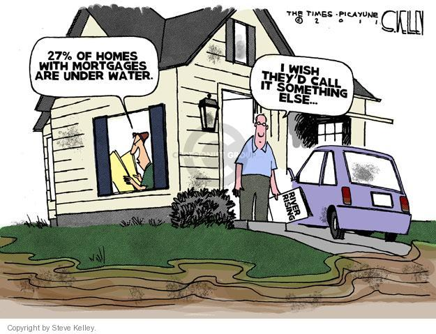 27% of homes with mortgages are under water.  I wish theyd call it something else.  River rising.