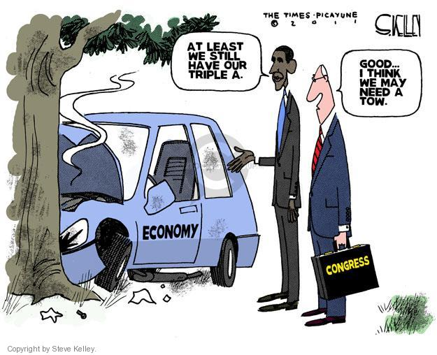 Steve Kelley  Steve Kelley's Editorial Cartoons 2011-08-04 Obama economy