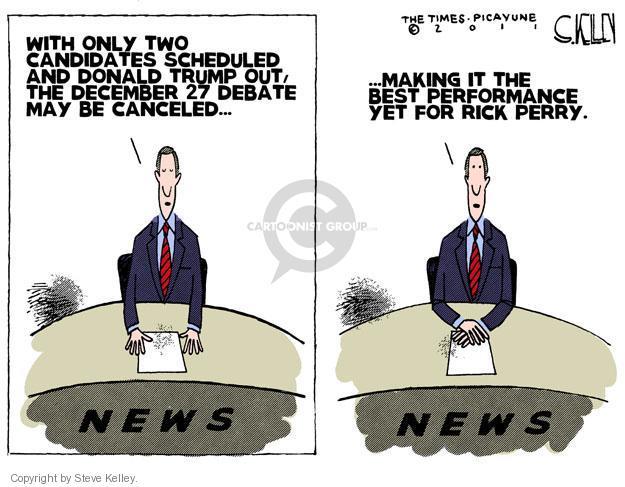 Steve Kelley  Steve Kelley's Editorial Cartoons 2011-12-14 republican debate