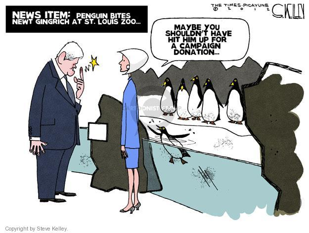 News Item: Penguin bites Newt Gingrich at St. Louis zoo… Maybe you shouldnt have hit him up for a campaign donation.