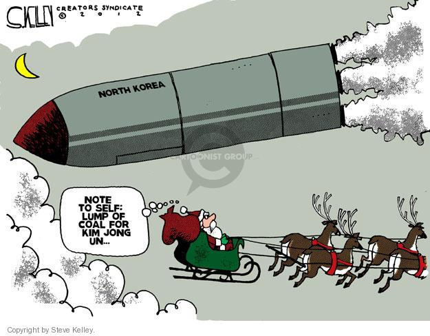 North Korea. Note to self: Lump of coal for Kim Jong Un …